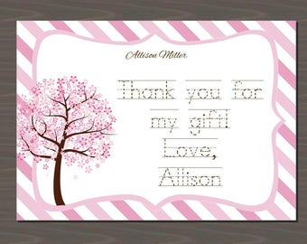 Pink Blossoms Thank You Cards, Pink Tree Thank You Notes, Custom Pink Stationery Set, Pink Stationary Set | Digital or Print | Pink Trees