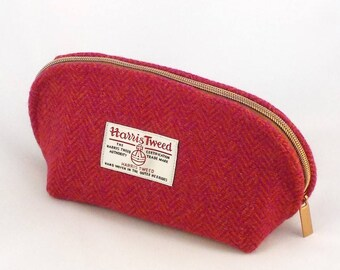 Harris tweed pink and orange washbag toiletries bag cosmetics purse