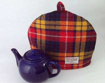 6c21abe4dbd4 Harris Tweed tea cosy, teapot cover bright tartan plaid fabric tea cozy.