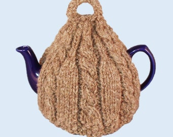 British wool tea cosy hand knitted in dark brown pure wool. Tea cozy, teapot cover