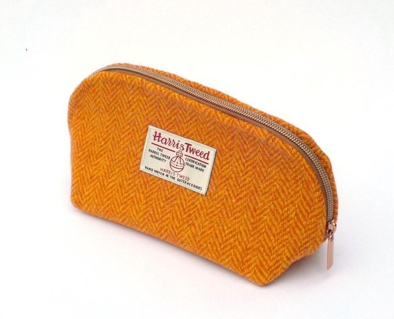 698fedd025 Harris tweed washbag arancione a spina di pesce toiletries | Etsy
