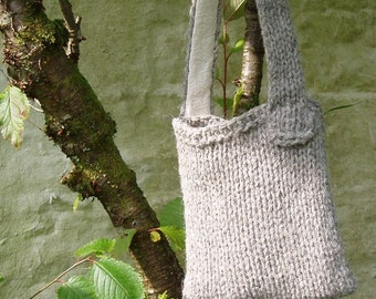 British Herdwick wool grey shoulderbag chunky knit bag