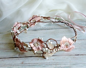 Dusty pink bridal crown, Lace hair wreath, Flower hair crown, Pink floral halo, Couture headpiece, Pastel hair wreath, Romantic headpiece