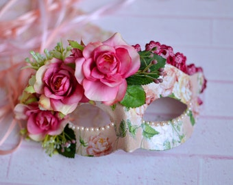 Couture Flower Mask, Rose Masquerade Ball Mask, Flower headpiece, Pink mask, Floral mask, Masquerade wedding mask, Pink flower mask, Pearls