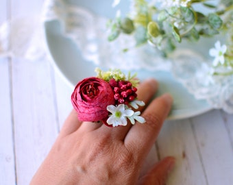 Red Floral ring, Bohemian ring, Peony ring, Spring ring, Colorful ring, Floral jewelry, Adjustable ring, Flower jewelry, Red accessories