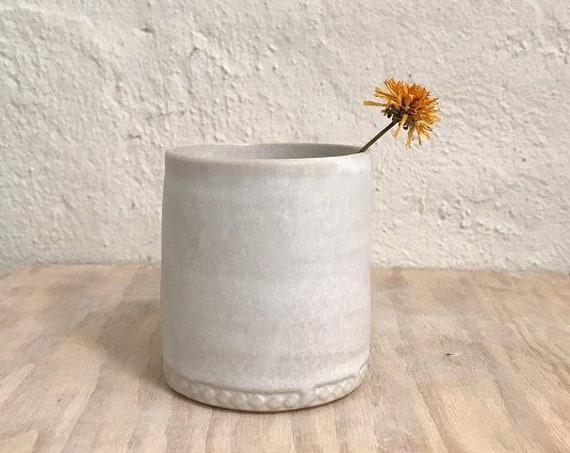 MUG -  matt white,  wheelthrown, decorated foot, ceramic basics, rustic pottery, modern rustic, simplify