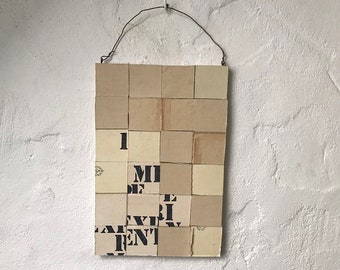 MIXED MEDIA COLLAGE 'experiment 1' - mixed media art, original art, wall hanging, faded colors, vintage book covers, recycled materials