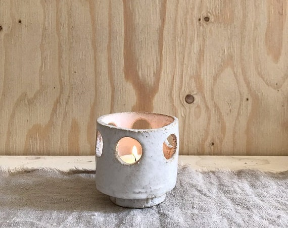 TEA LIGHT HOLDER - g r e e c e -  70s inspired, height 7,5 cm
