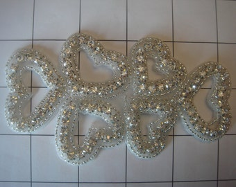 """4 3/4"""" by 2 3/4"""" Rhinestone Lots of Hearts Applique Wedding Dance Costume (A-23)"""