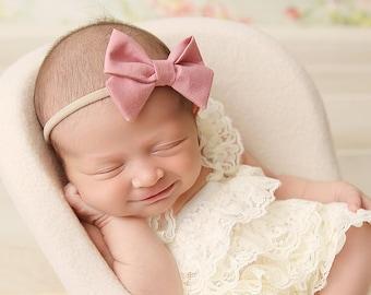 Blush Pink Baby Headband Bows ead598c6634