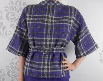 ea71d237f3 VINTAGE PURPLE SUIT 1960 s Wool Plaid Skirt Top Belt Size Small
