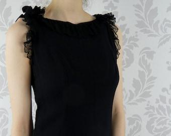 VINTAGE BLACK DRESS 1960s Lace Mini Saks Fifth Avenue Size Small