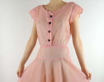 6b83cb242c31 VINTAGE PINK DRESS 1930s Scalloped Bodice Black Buttons Size Small