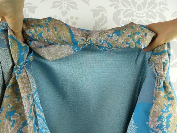 VINTAGE BLUE DRESS 1960s Belt Scarf Set Norman Wi… - image 8
