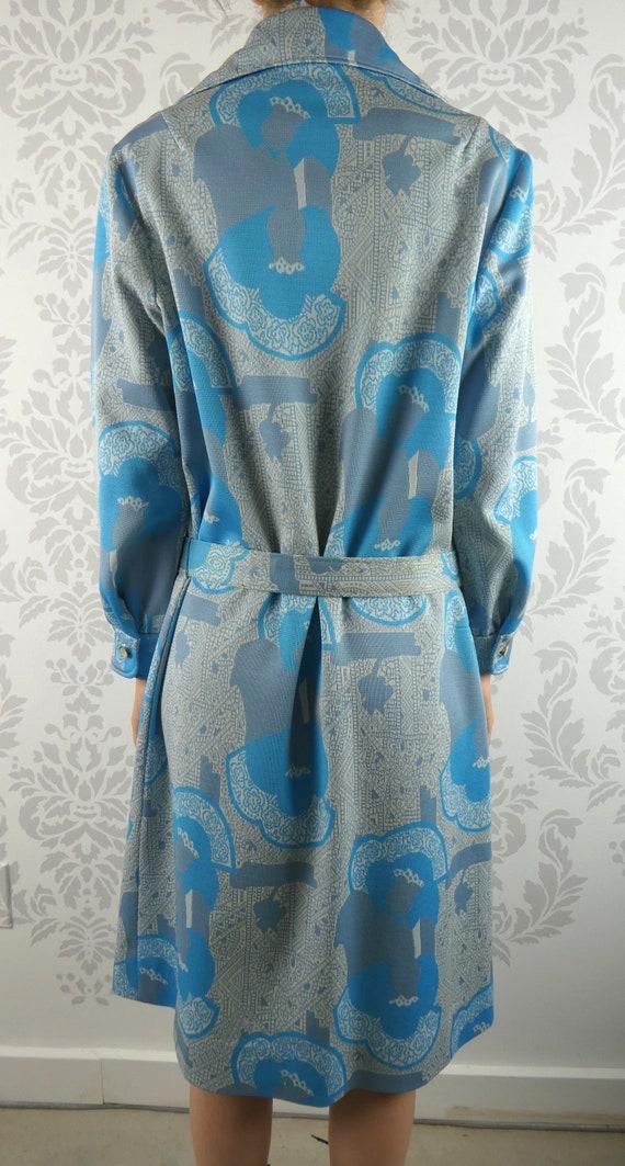 VINTAGE BLUE DRESS 1960s Belt Scarf Set Norman Wi… - image 6