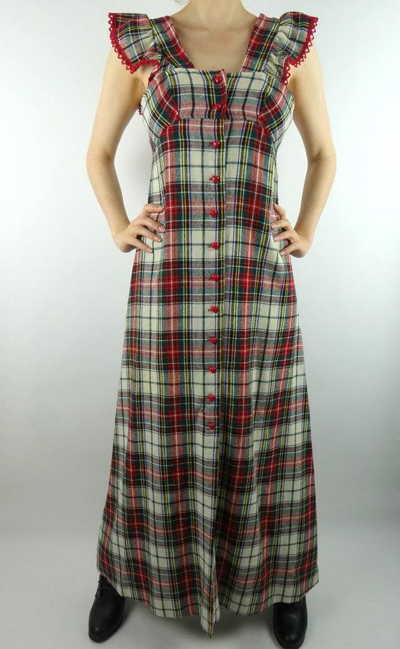 VINTAGE PLAID DRESS 1970s Wool Ruffled Sleeves Hea