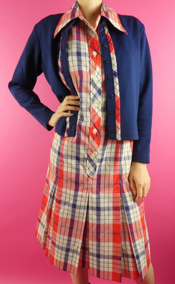 VINTAGE PLAID DRESS 1970s Cardigan Set Serbin of F