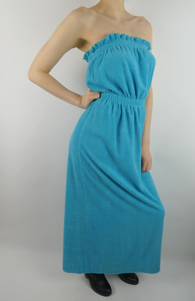 VINTAGE STRAPLESS DRESS 1970s Blue Terry Cloth Robes of California Size Small