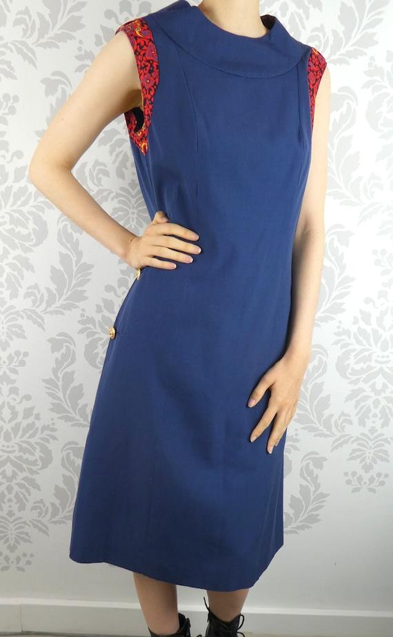 VINTAGE NAVY DRESS 1960s Pockets Buttons Kay Windsor Size Medium