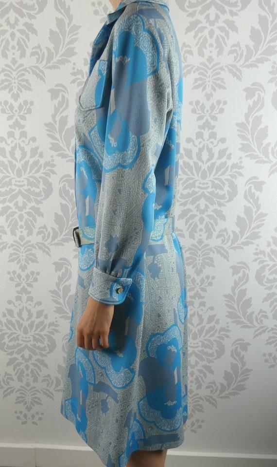 VINTAGE BLUE DRESS 1960s Belt Scarf Set Norman Wi… - image 5