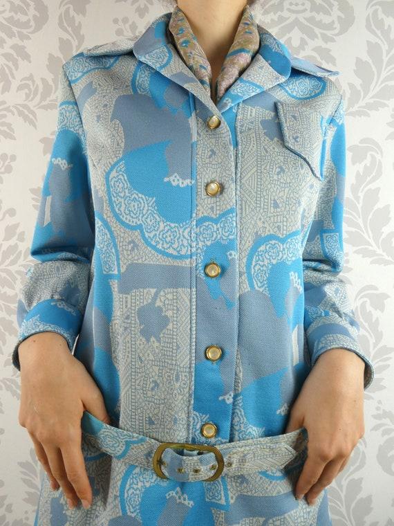 VINTAGE BLUE DRESS 1960s Belt Scarf Set Norman Wi… - image 3
