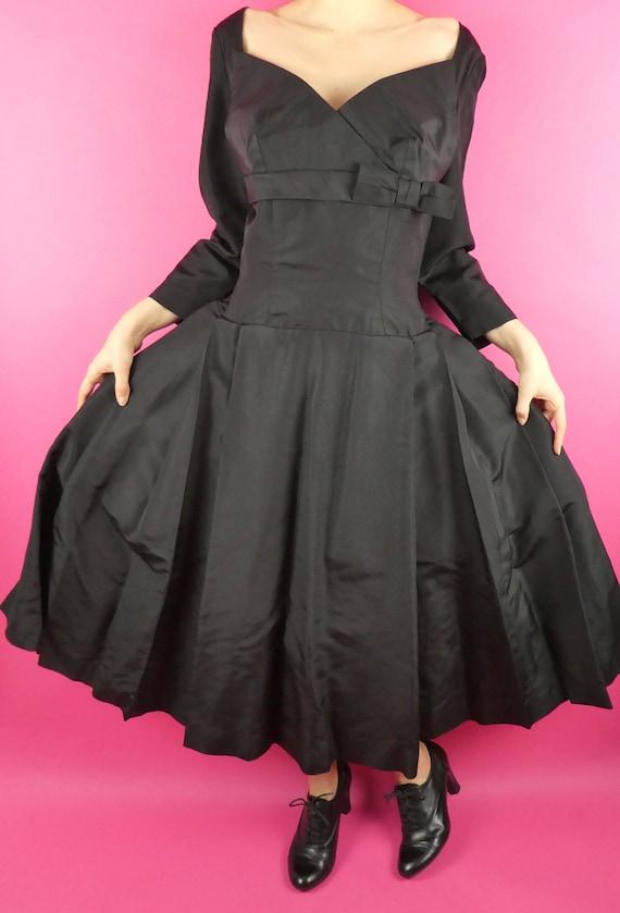 VINTAGE BLACK DRESS 1960s Foral Evening Dress Oleg