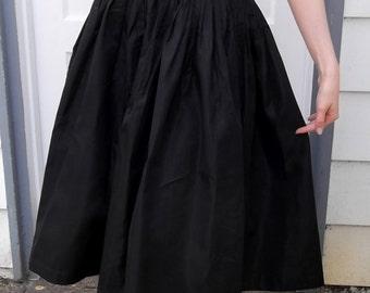VINTAGE BLACK ENSEMBLE Taffeta Skirt and Net Top 1950s