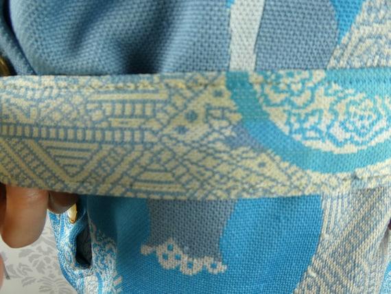 VINTAGE BLUE DRESS 1960s Belt Scarf Set Norman Wi… - image 10