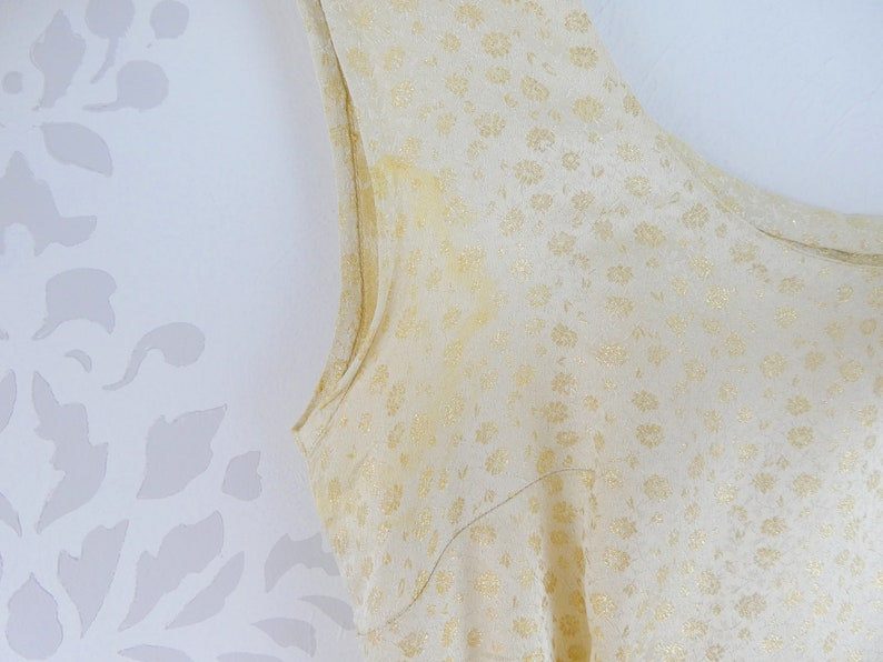 VINTAGE GOLD DRESS 1950s White Floral Brocade Cascading Belt Size Extra Small
