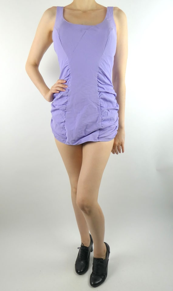 VINTAGE PURPLE SWIMSUIT 1950s Ruched Bottom One-pi