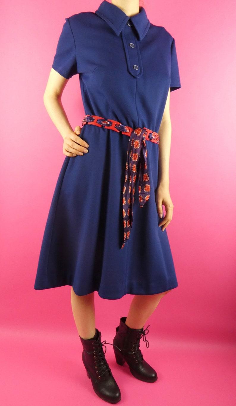 VINTAGE NAVY DRESS 1970s Elastic Waist Butte Knit Size Medium