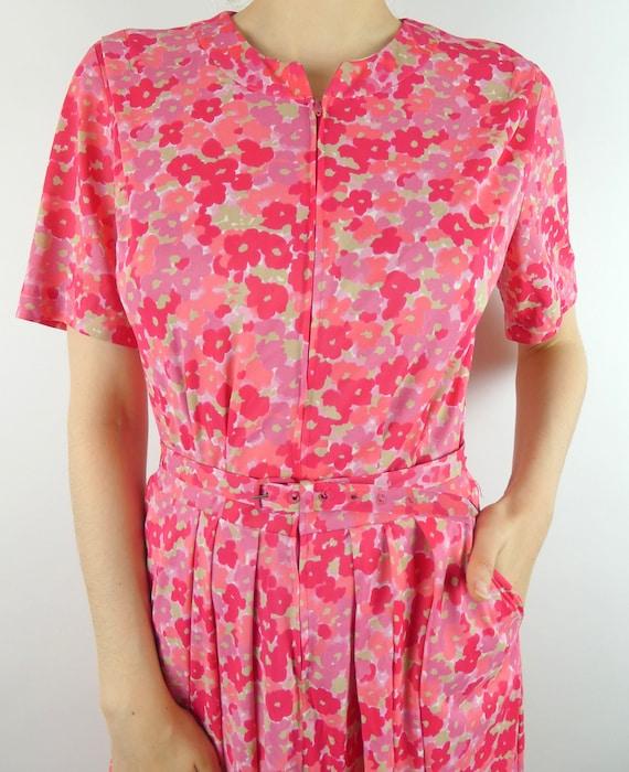 VINTAGE PINK DRESS 1960s Floral Print Front Zipper