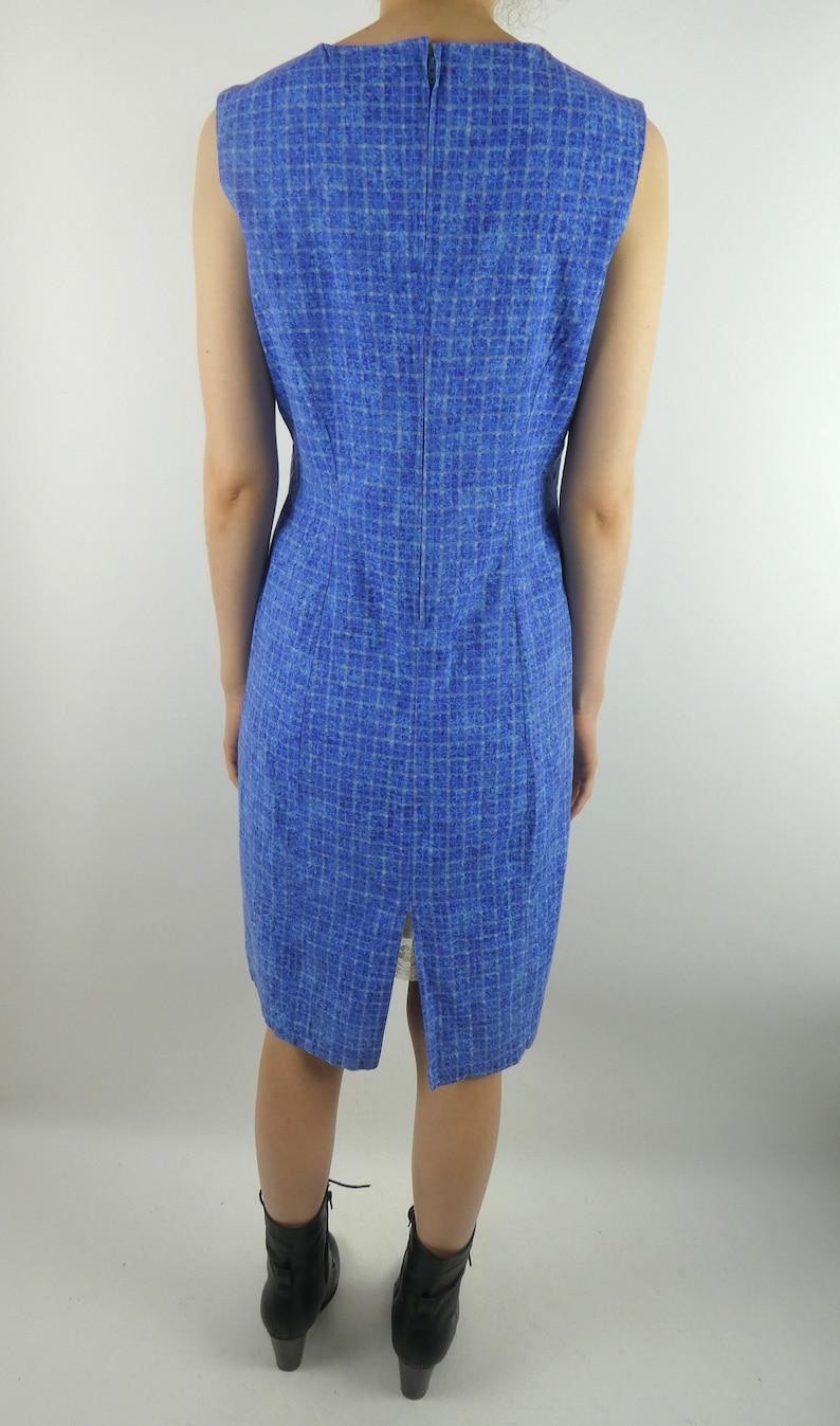 VINTAGE BLUE DRESS 1960s Handmade Cotton Square Print Size Medium