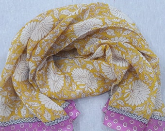 Small Scarf Indian Sari Scarf Yellow Scarf SSF1