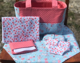 Baby Doll Diaper Bag set, Diapers for dolls, doll diapers, Doll accessories, new sibling gift