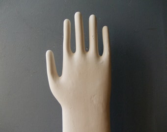 Glove Mold Hand / Ceramic Hand / Pottery hand / White Home Decor / Art Object / Jewerly organizer / Industrial Gift