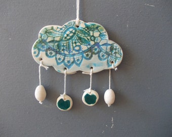 Ceramic Cloud with Beads / MOBILE / Wall Decor / Hanging / Nursery Decor / Wind Chime