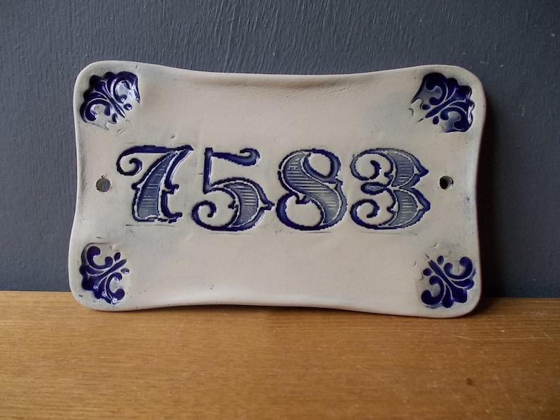 Your House Number  Door Number  Door Decor  Vintage decor  Door Plaque  Numerals  Blue sign  Door Sign