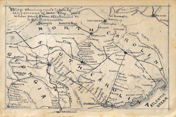 Vintage Map Route By Us Prisoners Of War 1864 North Carolina Etsy - Us-map-1864