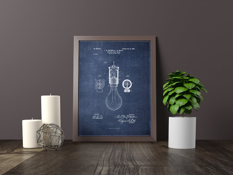 Light Bulb Socket Blueprint Patent - Home Decor Poster Print - Digital  Download