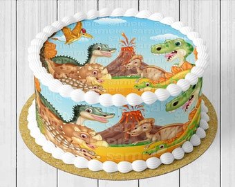 Icing Image Frosting Gender Reveal Birthday Decoration Choose From Drop-Down Menu Jurassic Dinosaurs Edible Round Cake Topper
