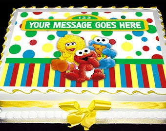 Personalized Edible Icing Frosting Image Birthday Decal Decoration Cake Topper Sesame Street Baby Shower Elmo Cookie Monster Bird