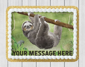 Edible Round Cake Topper Sloth Hanging Out Choose From Drop-Down Menu Icing Image Frosting Birthday Decoration