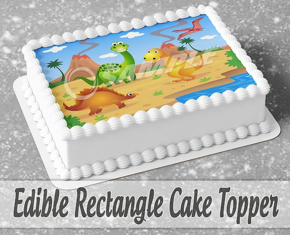 Edible Dinosaur Cake Topper With Name And Age SALE TODAY