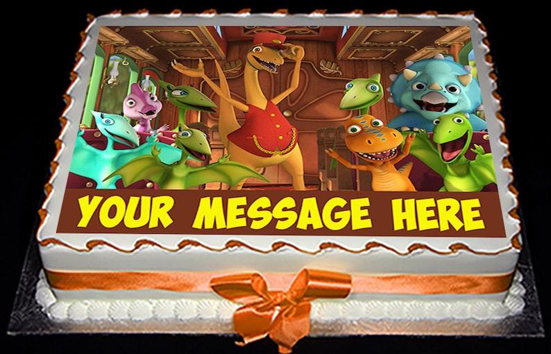 Fabulous Dinosaur Train Edible Cake Topper Jurassic Age Kids Railroad Etsy Personalised Birthday Cards Veneteletsinfo