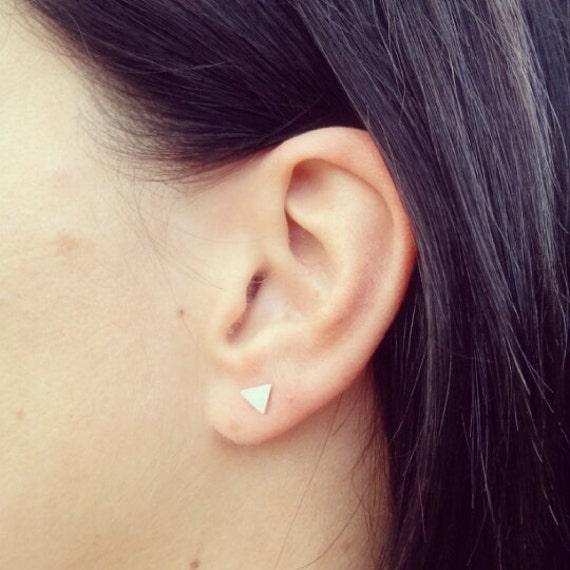 Triangle Matt Silver Flat Stud Earrings