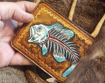 BilletVault Wallet Aluminum RFID protection anodized,Large Mouth Bass Pattern