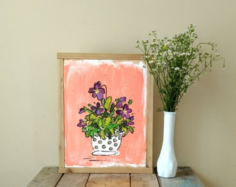 Dish of Violets painting, wall hanging, wood sign, flower illustration
