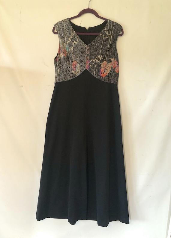 1970s dress vintage dress black dress Large XL dre