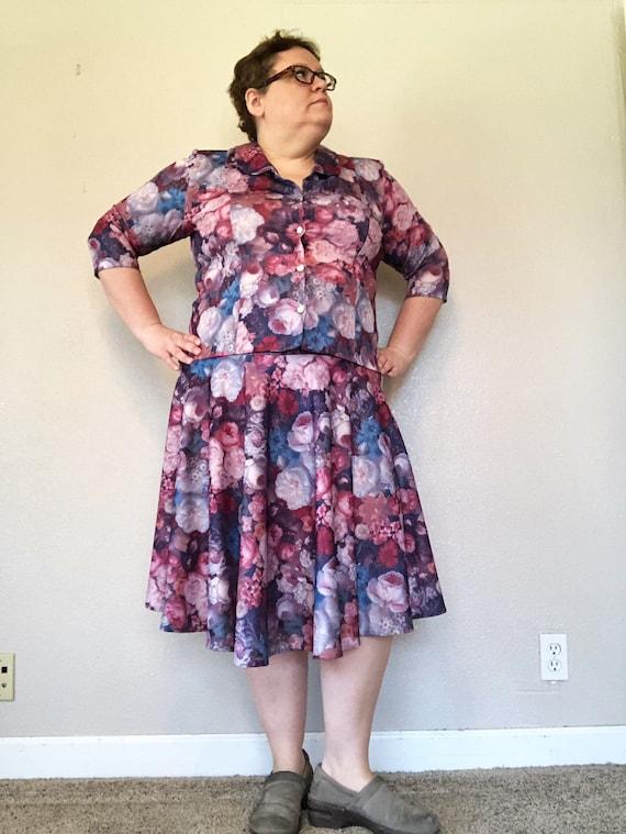 plus size dress purple and pink floral dress two piece XL 1X floral dress  1980s 80s VTG dress dress long sleeve Nancy II womens dress